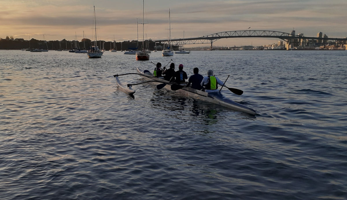 Team rowing on Waitemata Harbour
